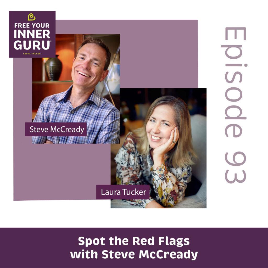 Photos of Steve McCready and Laura Tucker with Free Your Inner Guru logo